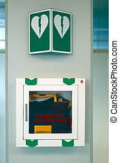 emergency defibrillator at airport