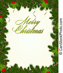 Christmas frame with fir branches and holly berries. Vector...