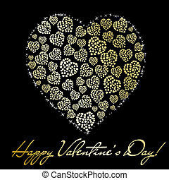 Abstract golden heart made of small hearts on black background. Valentine's day greeting card. Vector eps10 illustration