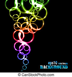 Abstract multicolored circles on black background