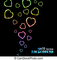 Abstract multicolored flying hearts on black background