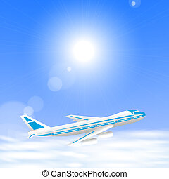 Airplane above the clouds in the blue sky. Vector eps10...