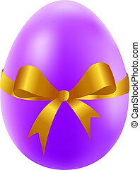 Easter egg with golden bow and ribbon