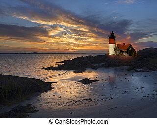 Lighthouse off the coast of New England