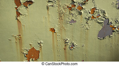 Green Metal Background with Rust