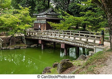 Bridge - Beautiful wooden bridge in Nara Garden, Japan