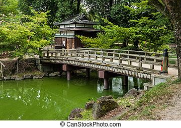 Bridge  - Beautiful wooden bridge in Nara Garden, Japan