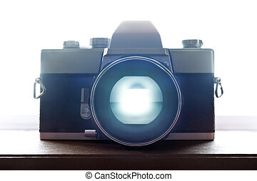 Old Retro Film Camera Closeup with backlight - Old Retro...