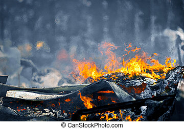 Very hot Fire creating air movement effect - Picture of Heat...