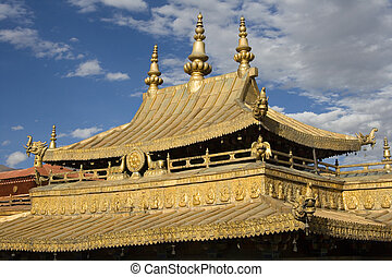 Jokhang Temple - Lhasa - Tibet - The Golden roof of the...