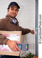 Postal worker at the door