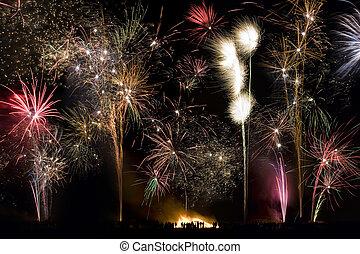 fuego artificial, exhibición, -, 5, noviembre, -,...