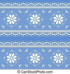 Floral lace pattern for design - Vector lace white on blue...