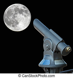 Looking at the Moon - old fashioned telescope looking at the...
