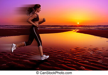 running and sunset - woman running during sunset
