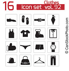 Vector black  clothes  icons set