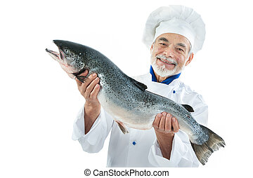 Cook with a big fish - Chef cook holding a big atlantic...
