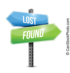 lost and found road sign illustration design over white