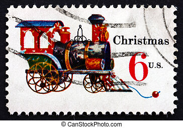 Postage stamp USA 1970 Tin and Cast-iron Locomotive,...