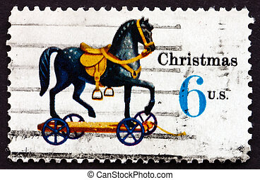 Postage stamp USA 1970 Toy Horse on Wheels, Christmas -...