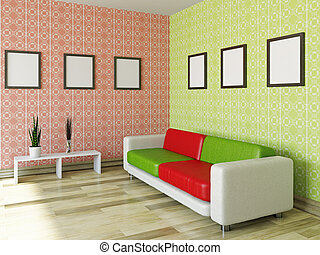 Sofa with red and green pillows