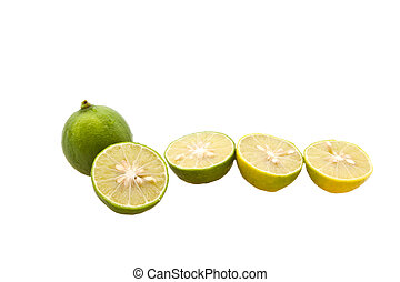 Sliced Lemon in Group, isolated on white