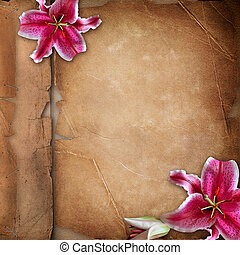 Framework for photo with spring flowers over old paper album...