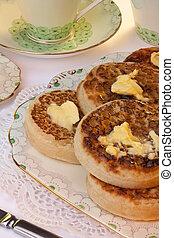 Tea and Toasted Crumpets - Breakfast - Tea and toasted...