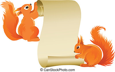 Squirrels - Two squirrels holding advertising scroll, vector