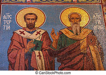 Apostles mosaic in russian orthodox church, Petersburg -...