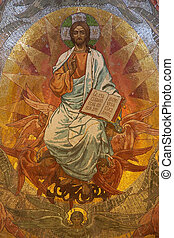 Jesus Christ mosaic in orthodox church, Petersburg -...