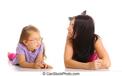 Mother and daughter having relationship difficulties isolated