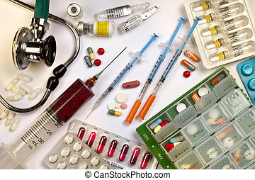 Medicine - Drugs - Stethoscope - Syringes - Medical Still...