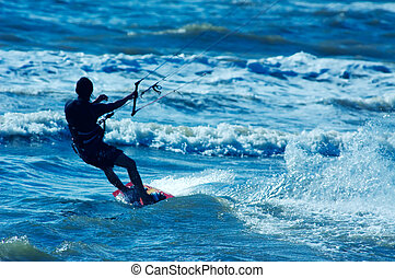kite boarder - kite surfer in action
