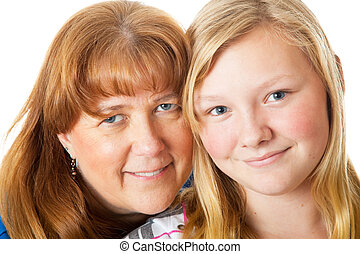 Mom and Daughter Closeup - Closeup portrait of a beautiful...