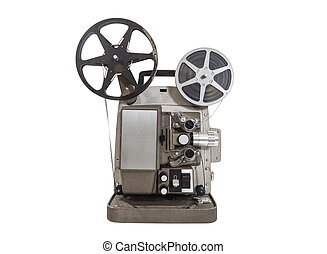 Old Movie Projector - Old movie projector with film reels...