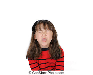 saucy little girl sticking out tongue. Isolated - Saucy girl...