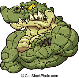 Alligator mascot - Angry alligator mascot Vector clip art...