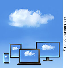 Cloud computing concept. All computer devices and white...