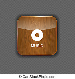 Music wood application icons