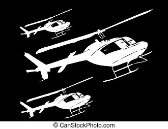 Civil helicopters in perspective vector art