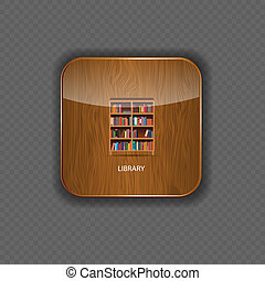 Library wood application icons vector illustration