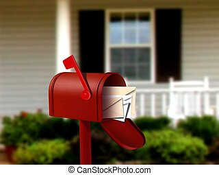 correio, caixa, em, frente, casa