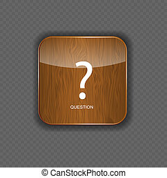 Question wood application icons vector illustration