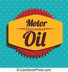 motor oil label over dotted background vector illustration