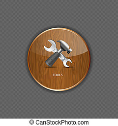 Tools wood application icons vector illustration