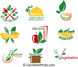 Vegetarian food symbols with fruits and vegetables for...