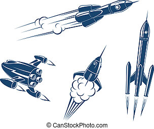 Spaceships and rockets flying in space. Vector illustration