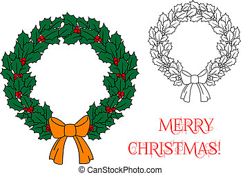Christmas wreath with holly and berries for holiday design