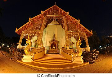 Buddist temple in Thailand - Thai temple outdoor with night...